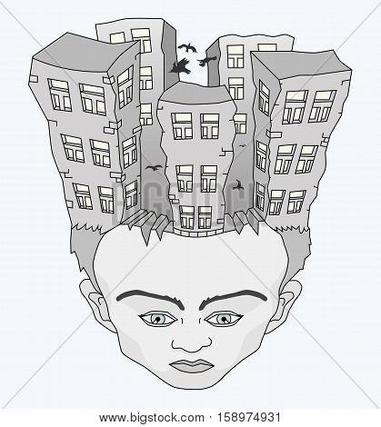 Depressive human face in mind crack tall buildings with black birds