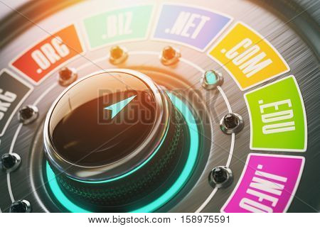 Domain name choice concept. Knob switch button and website  internet domain names. 3d illustration