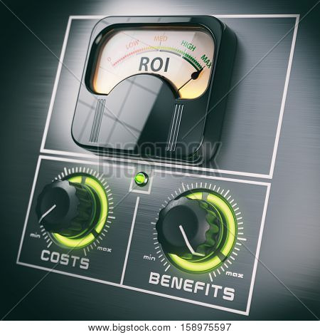 Return on Investment concept. ROI and benefits in the maximum positions switches and costs in the minimum. 3d illustration