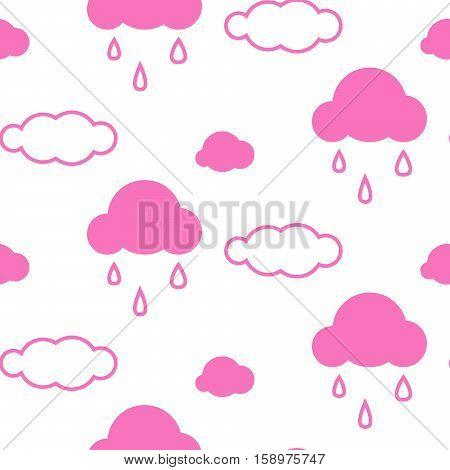 Pink sky clouds seamless kid vector pattern. Girlish background. Minimalist style textile fabric cartoon scandinavian ornament.