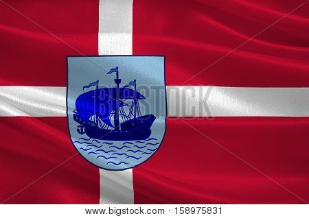 Flag of Nordfyn is a municipality in Region Hovedstaden of Denmark. 3d illustration