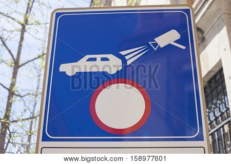 Traffic sign outdoors. Limited traffic area active control