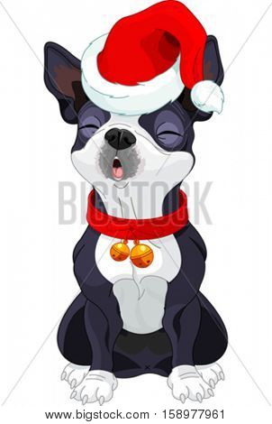 Illustration of cute Boston terrier singing Christmas Carol