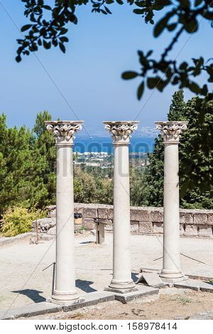 Columns at ancient site of Asclepeion (The Hippocratic school of medicine), Kos island, Greece