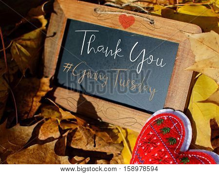 Giving Tuesday Thank You for donations with hashtag #givingtuesday words on rustic vintage chalkboard and hearts for community love start the holiday giving season and spirit part of a series with copy space