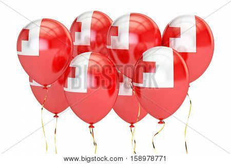 Balloons with flag of Tonga holyday concept. 3D rendering isolated on white background
