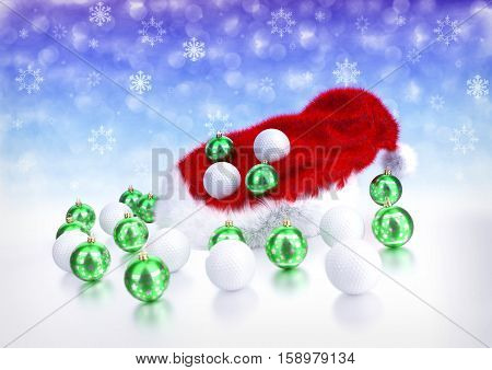 christmas and golf balls with santa red hat on bokeh background - 3D illustration