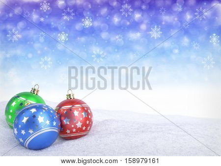colorful christmas balls on snow with bokeh background - 3D render
