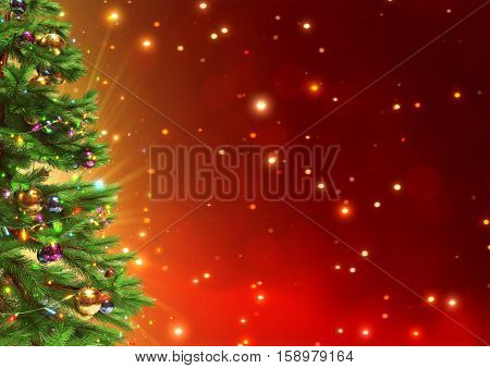 Decorated christmas tree on red bokeh background - 3D illustration.