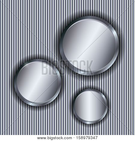 Metallic background with circle copy spaces.