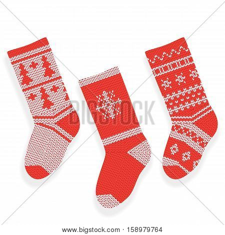 Red christmas knitted stocking isolated on white background.
