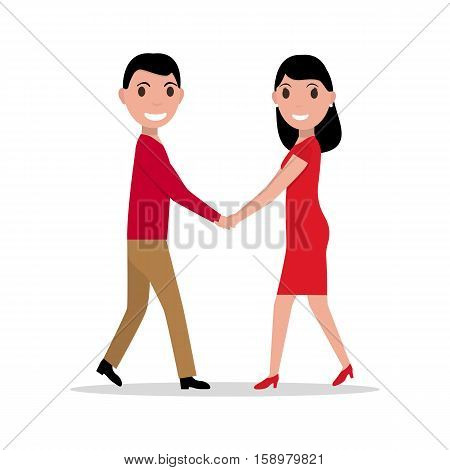 Vector illustration of a cartoon couple in love. Man and woman holding hands. Girl and guy at the meeting. Isolated white background. Flat style. Meet beloved. Rendezvous lovers.