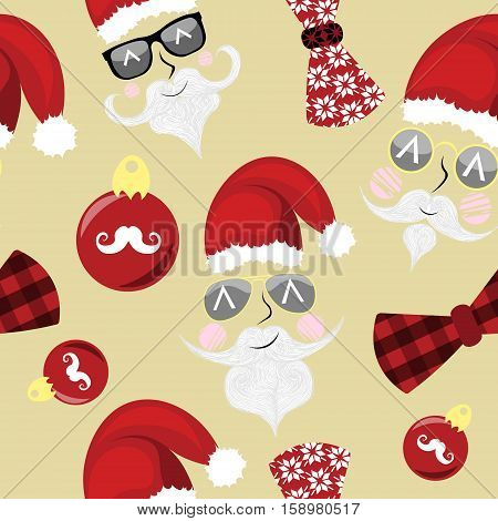 Xmas christmass new year seamless pattern vector with hipster santas, christmas decoration and bow tie