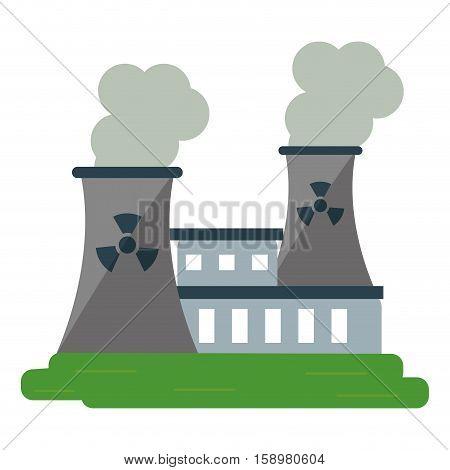 nuclear power station energy pollution vector illustration eps 10