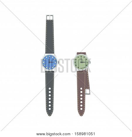 Wrist watch with leather strap. Vector illustration.