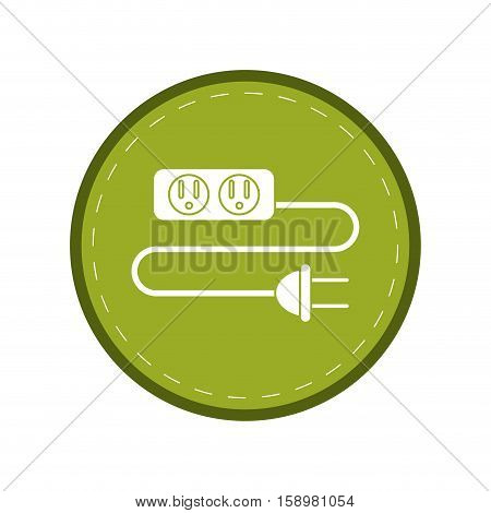 electric extension cord cable and plug green circle vector illustration eps 10