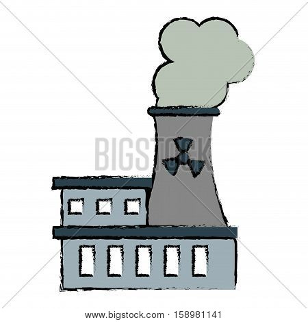 drawing nuclear power station energy pollution vector illustration eps 10