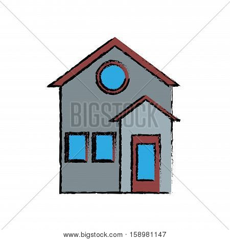 family house facade residential design drawing vector illustration eps 10