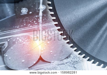 The abstract scene of the circular saw for industrial with the work pieces and lighting effect
