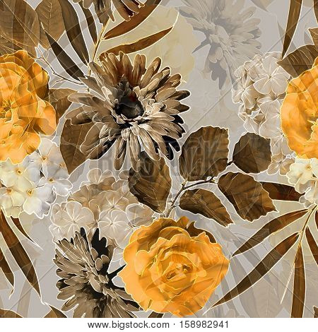 art vintage monochrome brown and orange blurred watercolor and graphic floral seamless pattern with roses, peonies, gerbera, asters and dark leaves on  background. Double Exposure effect