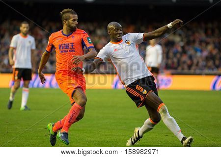 VALENCIA, SPAIN - NOVEMBER 20th: (L) Carcela adn Mangala during La Liga soccer match between Valencia CF and Granada CF at Mestalla Stadium on November 20, 2016 in Valencia, Spain