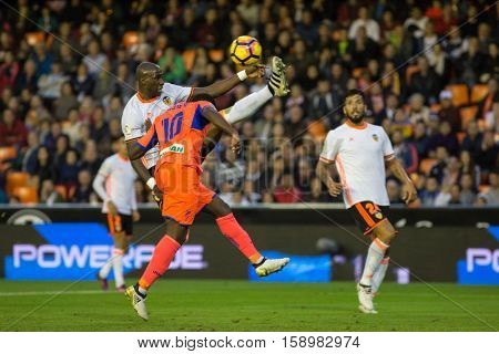 VALENCIA, SPAIN - NOVEMBER 20th: Mangala and 10 Boga during La Liga soccer match between Valencia CF and Granada CF at Mestalla Stadium on November 20, 2016 in Valencia, Spain