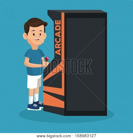 boy playing arcade video machine vector illustration eps 10
