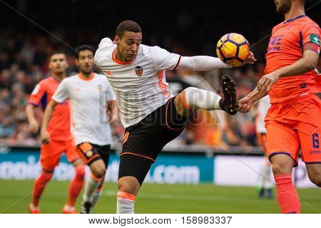 VALENCIA, SPAIN - NOVEMBER 20th: Rodrigo during La Liga soccer match between Valencia CF and Granada CF at Mestalla Stadium on November 20, 2016 in Valencia, Spain