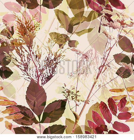 art vintage blurred monochrome red brown watercolor and graphic floral seamless pattern with grasses and leaves on background. Double Exposure effect