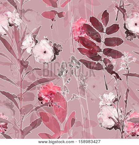 art vintage blurred monochrome pink purple watercolor and graphic floral seamless pattern with roses, grasses and leaves on background. Double Exposure effect