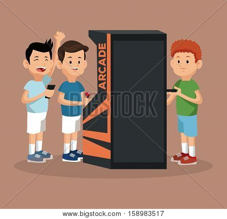 friends video gaming arcade machine and smartphone vector illustration eps 10