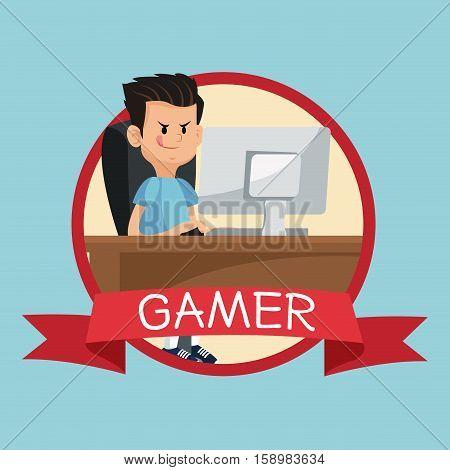 gamer computer online desk banner banner blue backgroung vector illustration eps 10