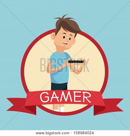 gamer smartphone video playing banner blue backgroung vector illustration eps 10
