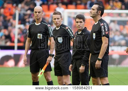 VALENCIA, SPAIN - NOVEMBER 20th: Referees Team during La Liga soccer match between Valencia CF and Granada CF at Mestalla Stadium on November 20, 2016 in Valencia, Spain