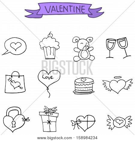Valentines Day icons collection stock vector illustration