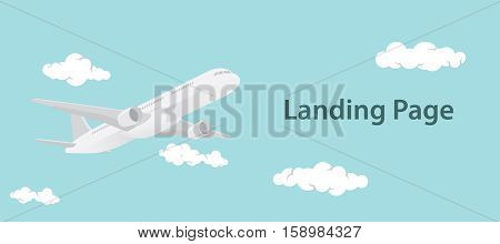 landing page design illustration with aero plane and landing text vector