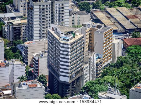 Tall residential buildings in Botafogo, Humaita of Zona Sul, view from Mirante Dona Marta at the National Park of Tijuca, Rio de Janeiro, Brazil