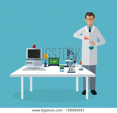 medical scientist experiment laboratory elements on table vector illustration eps 10