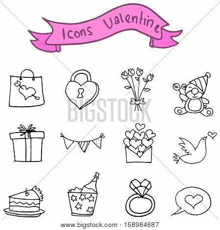 Collection stock valentine icons vector with hand draw