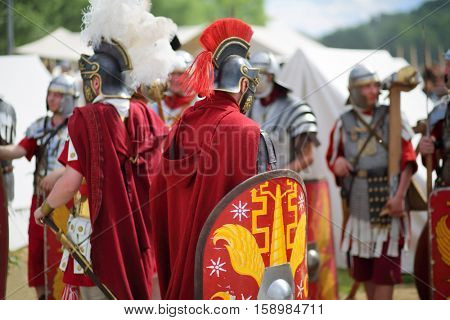 MOSCOW - JUN 06, 2015: Roman soldiers at the festival Times and epoch: Ancient Rome in Kolomenskoye