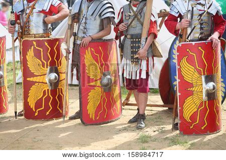 MOSCOW - JUN 06, 2015: Equipment and weapons of the Roman soldiers at the festival Times and epoch: Ancient Rome in Kolomenskoye