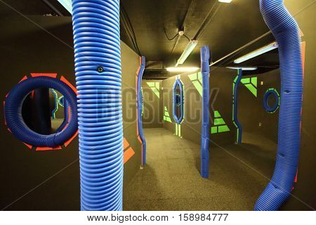 MOSCOW - DEC 13, 2014: Laser tag in the shopping center Capitol Vernadsky
