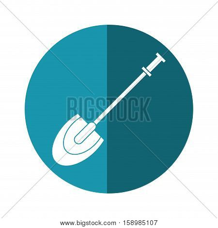 shovel tool element camping blue circle shadow vector illstration eps 10