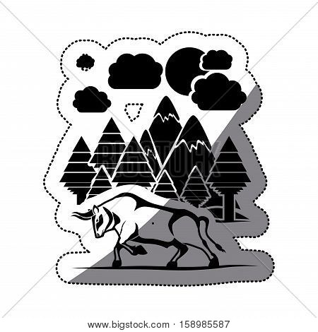 Bull and forest icon. Animal horned cow nature and wildlife theme. Isolated design. Vector illustration