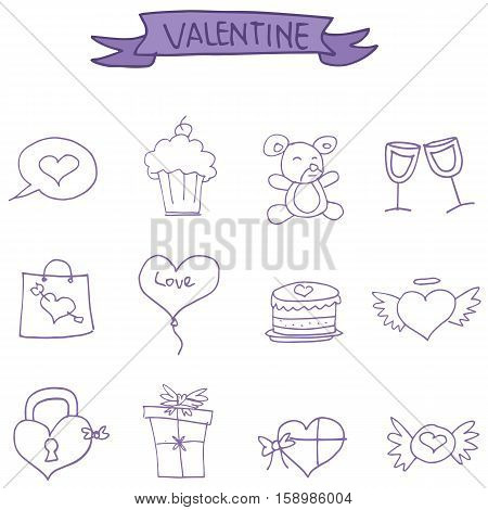 Valentine day icons vector art collection stock