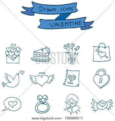 Valentine icons object collection stock vector illustration