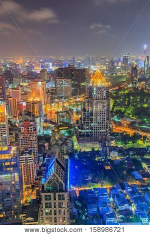 Bangkok Cityscape Business district with high building Bangkok Thailand