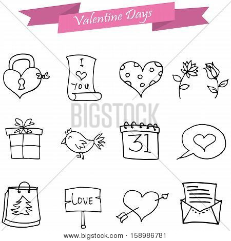 Vector art of valentine icons element collection stock
