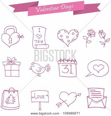 Icon of valentine day pink element collection stock