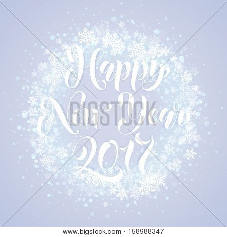 2017 Festive glittering gold snow. Light glow vector red background. Wreath ornament decoration of sparkle glitter golden snowflakes stars pattern. Happy New Years decorative text calligraphy